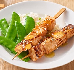 Lemon Sesame Salmon Skewers