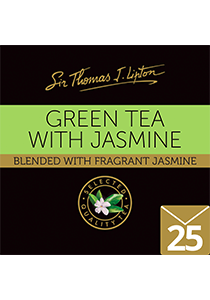 SIR THOMAS LIPTON Jasmine Green Envelope Tea 25's - Lightly scented with real Jasmine flowers, this product is individually sealed for a premium and fresher tea.