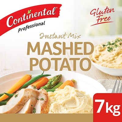 CONTINENTAL Professional Instant Mashed Potato 7 kg - This gluten-free mash is made with finely ground potatoes. Its simple to prepare and delivers, smooth, creamy & tasty potato mash in minutes.