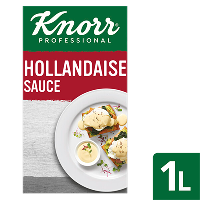 KNORR Garde d'Or Hollandaise Sauce 1 L - Made with real egg yolks for close-to-scratch taste, this sauce offers consistent quality to your breakfast menu.