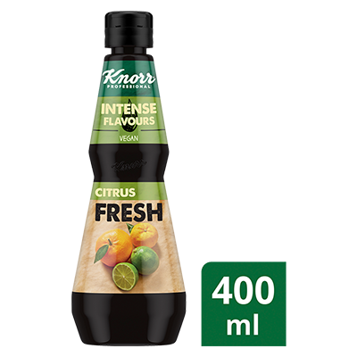 KNORR Intense Flavours Citrus Fresh 400 ml - Zesty freshness from mandarin, Tahitian lime and yuzu juices for a balanced citrus profile that's difficult to blend from scratch.